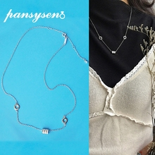 PANSYSEN Genunie 925 Sterling Silver Lucky Bead Pendant Necklaces Top Quality Chain AAAA Zircon Necklace for Women Wedding Gifts
