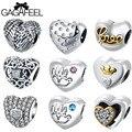 GAGAFEEL 925 Sterling Silver Heart Shape Bead Fit Pandora Bracelet Bangles Charms Original European DIY Beads For Jewelry Making