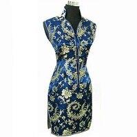 Navy Blue Chinese Traditional Women Summer Dress Silk Satin Cheongsam Sexy V Neck Qipao Floral Size