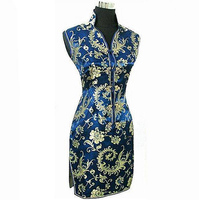 Navy Blue Chinese Traditional Women Summer Dress Silk Satin Cheongsam Sexy V Neck Qipao Floral Size