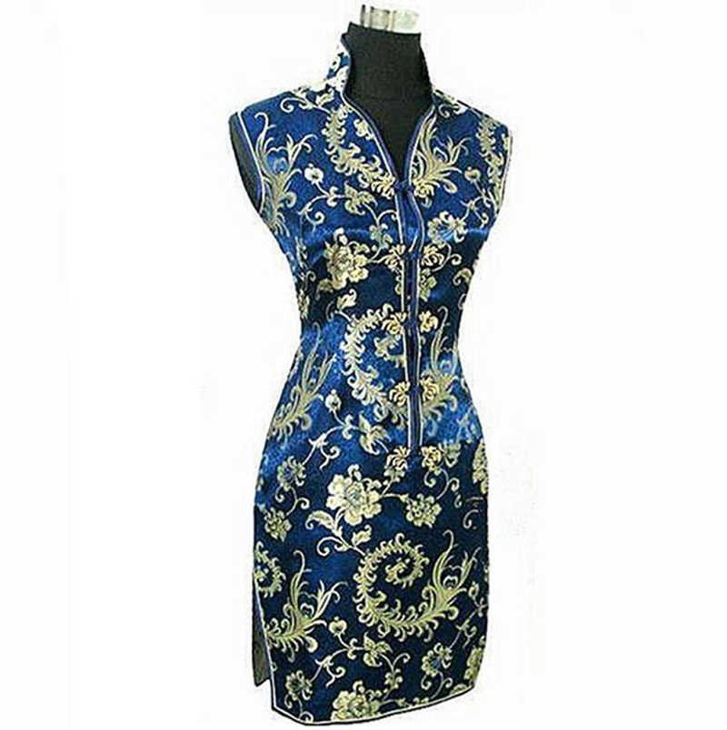 Navy Blue Chinese Traditional Women Summer Dress Silk Satin Cheongsam Sexy V-Neck Qipao Floral Size S M L XL XXL XXXL WC013