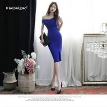 купить 2018 Plus Size Pencil Dress Summer Women Blue Sleeveless Off the Shoulder Knee-length Casual Office Lady Dress Elegant Dresses по цене 1851.68 рублей