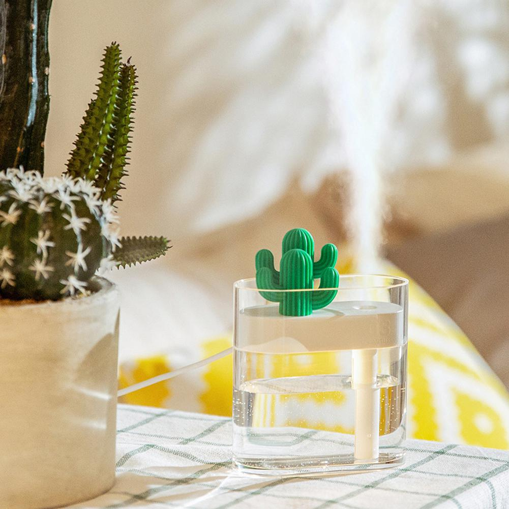 Adoolla Mini Cartoon Cactus Shape USB Rechargeable Air Humidifier with Night Light