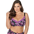 BL953P 2016 Women Bra Black Colour Printing Floral  Unlined Push Up Cup Plus Size 34 36 38 40 42 44 46 C D DD DDD E F