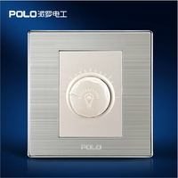 Wholesale POLO Luxury Wall Switch Panel Light Switch Dimmer Switch Champagne Black 10A 110 250V 220V