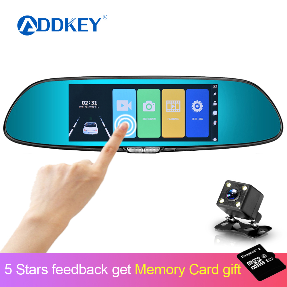 ADDKEY Recorder Registrator Rearview-Mirror Car-Dvr-Camera Dvrs Dash-Cam Touch-Screen