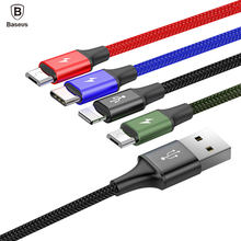 Baseus 4in1 USB Cable for iPhone X 8 7 6 Plus Fast Charging Cable Micro USB Type C Cable for Samsung Galaxy S9 S8 HTC Huawei etc