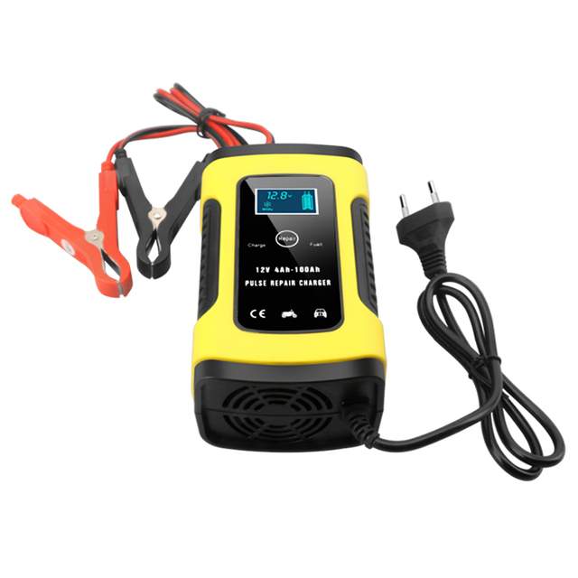 2PC Full Automatic Car Battery Charger 110V To 220V To 12V 6A LCD Smart Fast for Auto Motorcycle Lead-Acid Batteries Charging 5