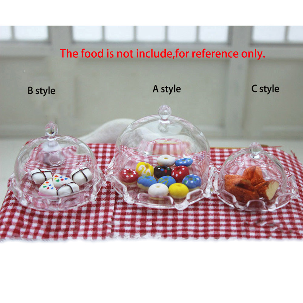 1/12 Dollhouse Miniature Accessories Mini Glass Dessert Tray Simulation Food Plate Model Toys Doll House Decoration Without Food
