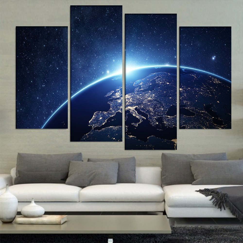 Compare Price To Wall Painting Kit: Aliexpress.com : Buy Earth From Space 4 Pieces/sets Canvas