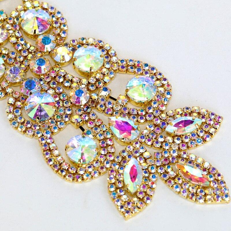 Aliexpress Com Buy 1440pcs Gold Bottom Crystal Clear: 1pcs 18X5cm Crystal AB Sew On Rhinestones Applique Gold