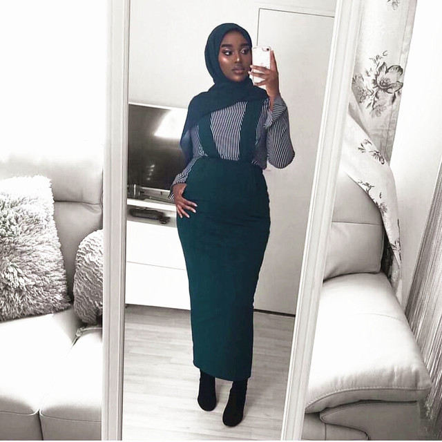 Женская длинная юбка макси на подтяжках, хлопковая юбка с поясом в мусульманском стиле, большие размеры, SK9018