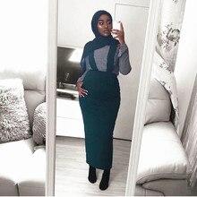 Women Maxi Long Muslim  Skirt suspender Half Plain Cotton New Design Belt  Muslim Long Skirt Large Size  SK9018