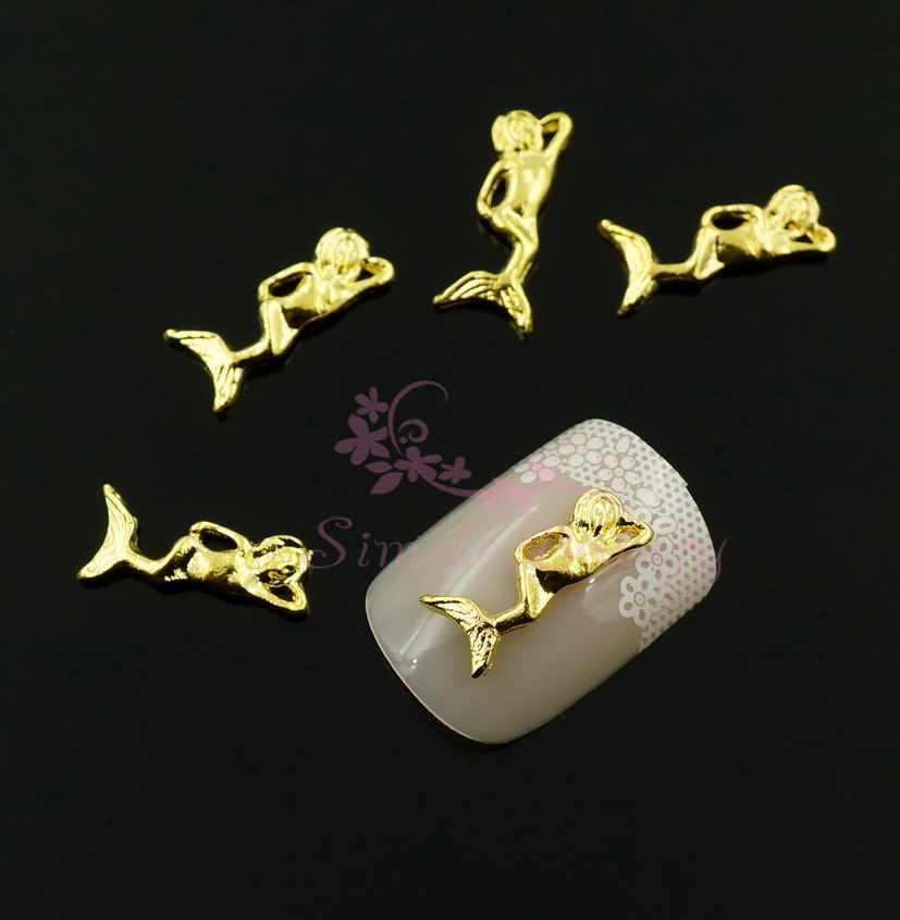 100 pz/lotto Estate Sirena Cassa Del Telefono di Fascini Della Lega 3D Artigianato Salon Acrilico Del Manicure di Arte Accessorio Dei Monili Decorazione di DIY