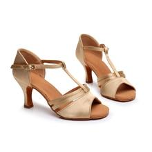 shose women high heel latin shoes satin ballroom dance upper suede sole tango dancing for ladies
