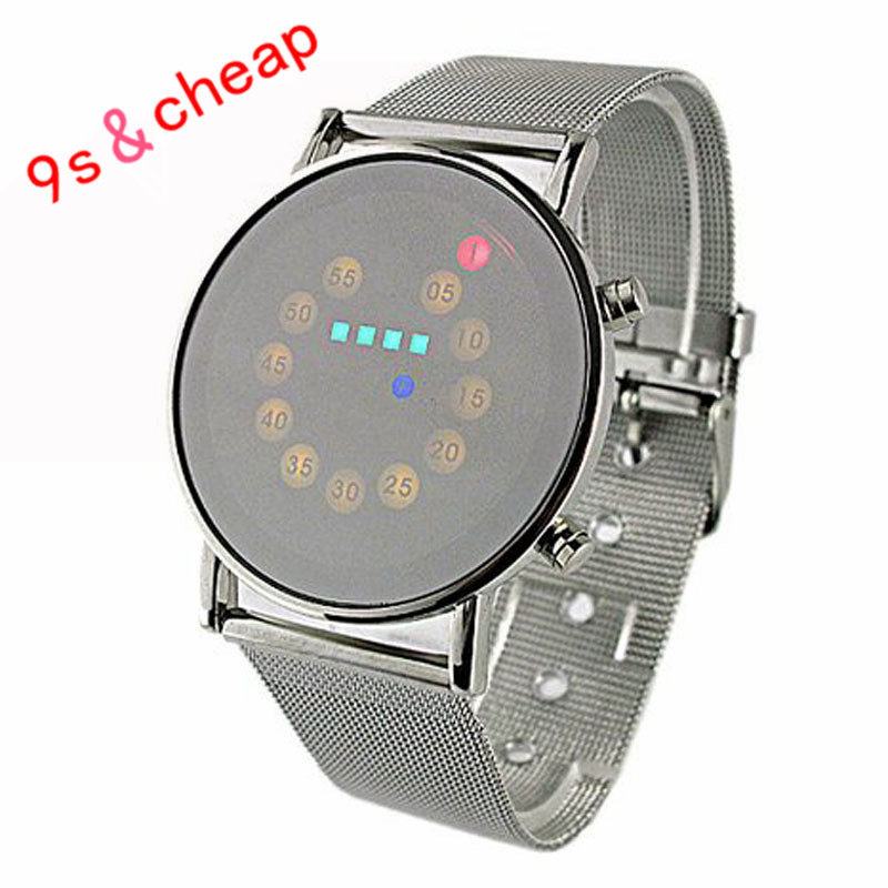 Colourful LED Light Stainless Steel Fashion Wrist Watch  Free Shipping #270717