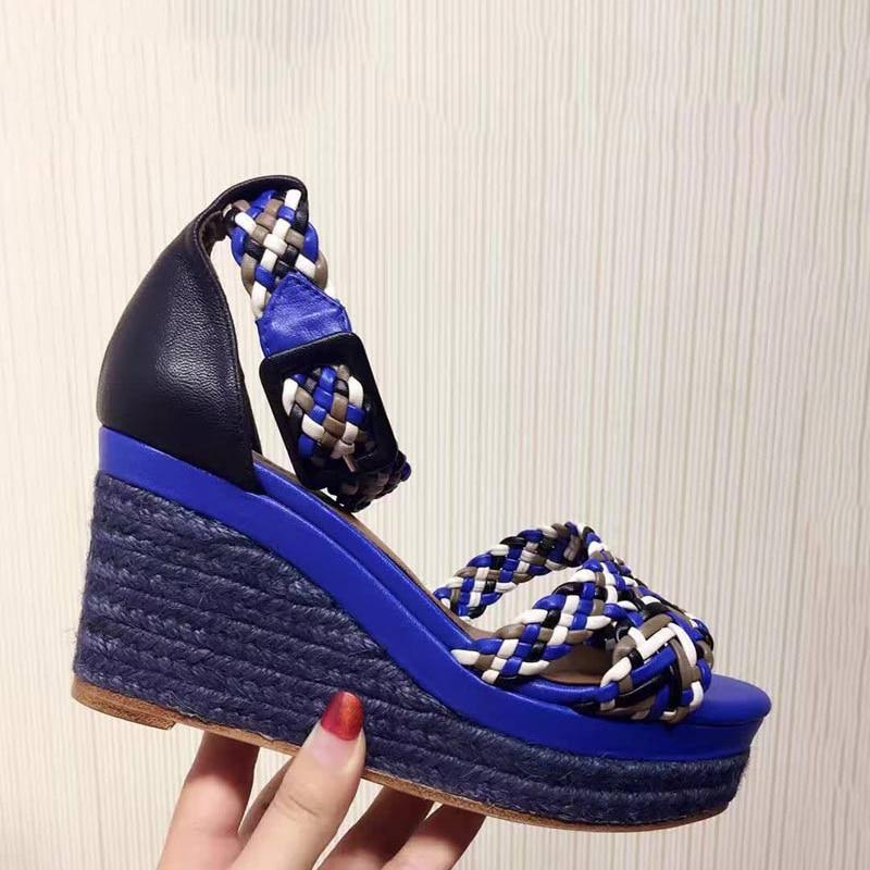 Donne alla moda Piattaforma Arcobaleno Tessitura Sandali Fibbia Sandali Con Zeppa Cinghia Corda di Disegno di Estate Sandali Donna 2019