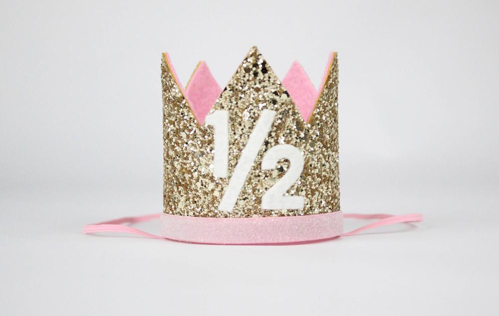 1 2 Birthday Crown Half Hat Glitter Girls Party