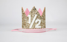 1 2 Birthday Crown Half Hat Glitter Girls Party Princess Gold Baby Pink
