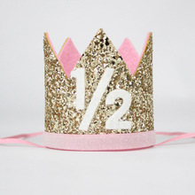 1 2 Birthday Crown Half Hat Glitter Girls Party Princess Gold Baby Pink In Hats From Home Garden On