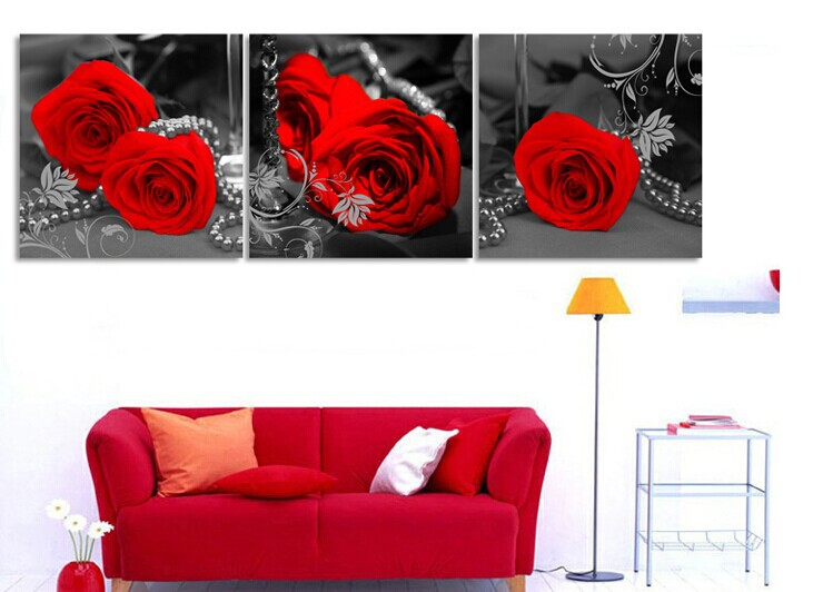 3 Panels Quadros Wall Painting Modern Canvas Wall Art Flower Pictures Red Rose  Canvas Painting For Home Decoration Free Shipping In Painting U0026 Calligraphy  ...