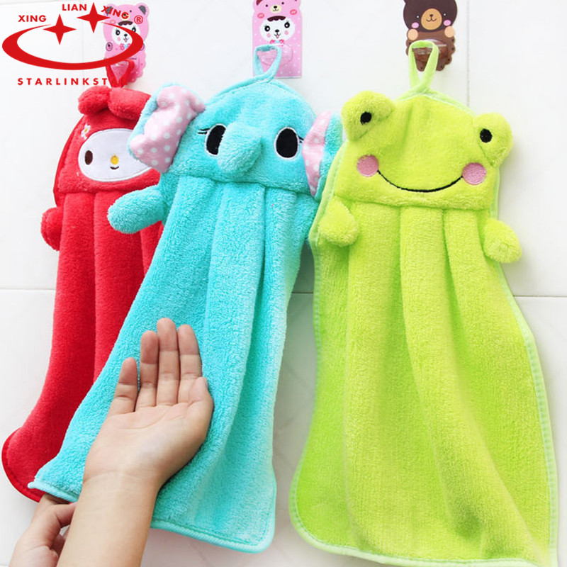 1PC Cute Kitchen Rags Cartoon Animals Hand Towels Super Soft Coral Fleece  Absorbent Cloth Hanging Clean Kitchen Accessories