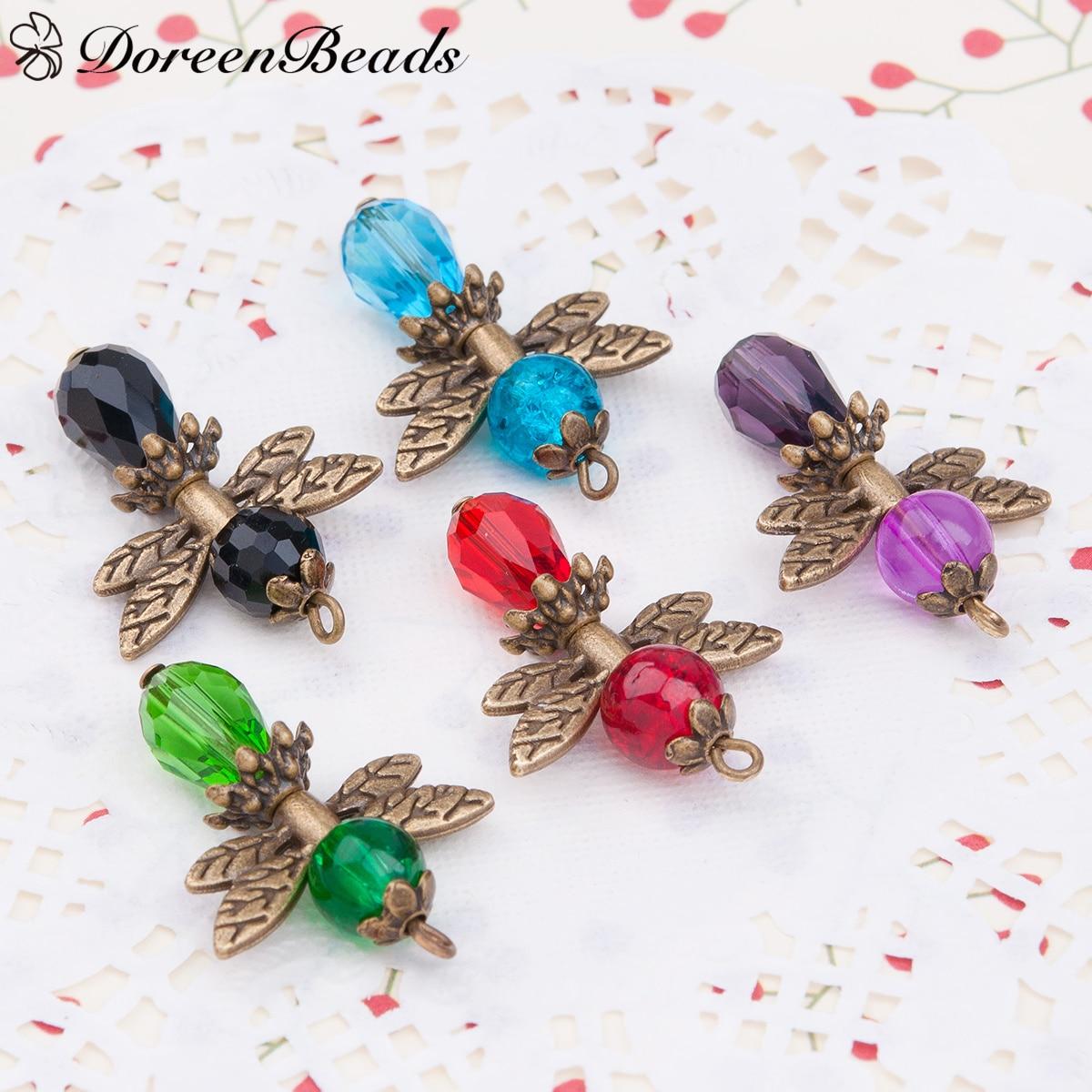 Guardian Angel Wing Charms Pendants Drop Antique Bronze With Glass Multicolor Bead 3.1cm x 2.2cm,1 Set(5 PCs/Set)