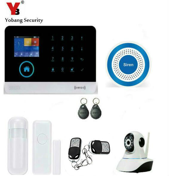 Yobang Security WIFI Wireless Gsm Alarm Security System Smart Home Family Alarm HD IP Camera Alarm System With RFID Keyfobs yobang security wifi gsm home security alarm system with ip camera digital alarm with wireless intelligent pir motion wifi alarm