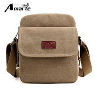 Amarte Vintage Canvas Men Shoulder Bags Male Business Satchel Messenger Bags High Quality Casual Travel Men