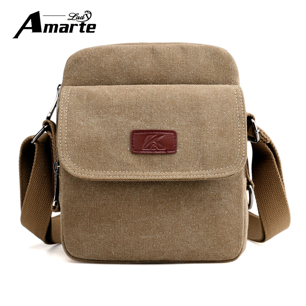 Amarte Vintage Canvas Men Shoulder Bags Male Business Satchel Messenger Bags High Quality Casual Travel Men's Crossbody Bags men s crossbody bags casual canvas bag leather satchel purse high quality vintage brand male small shoulder messenger bags