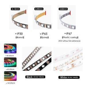 Image 4 - WS2812B DC 5V LED bande RGB 50CM 1M 2M 3M 4M 5M 30/60/144 LED s Smart adressable Pixel noir blanc PCB WS2812 IC 17Key Bar