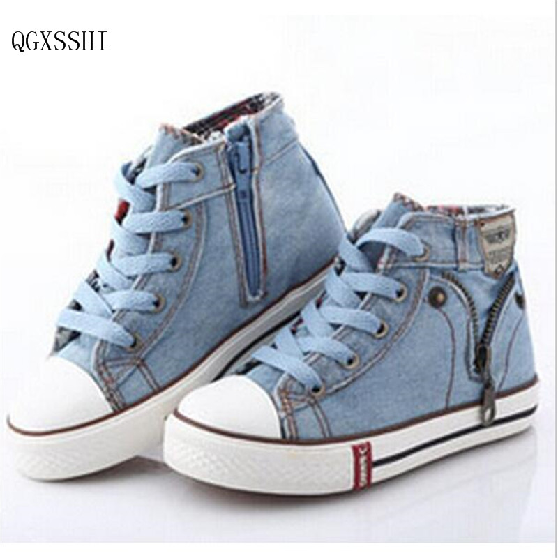 QGXSSHI 2016 Fashion Size 25-37 Children Shoes Kids Canvas Sneakers Boys Jeans Flats Girls Boots Denim Side Zipper Shoes