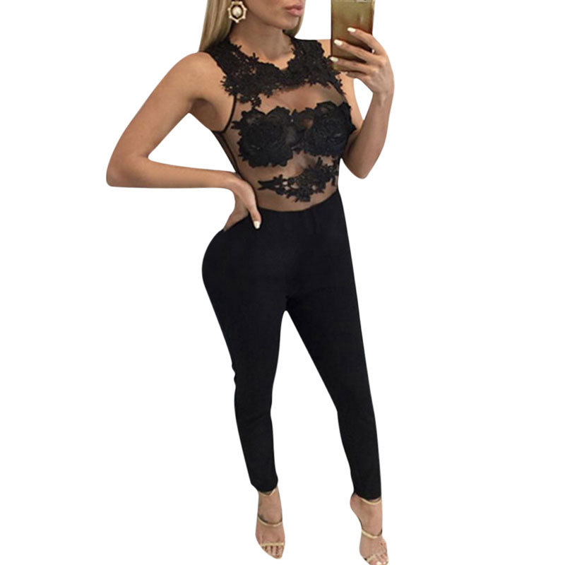 MUXU summer sexy women blue lace transparent mesh jumpsuit bodysuits jumpsuits europe and the united states jumpsuits rompers in Jumpsuits from Women 39 s Clothing
