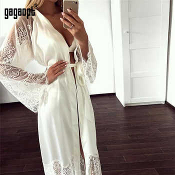 Gagaopt 2019 Spring 3 Colors Lace Nightgowns Women Long Sleeve Fashion Sexy Nightgowns With Belt Sleepwear - DISCOUNT ITEM  40 OFF Underwear & Sleepwears
