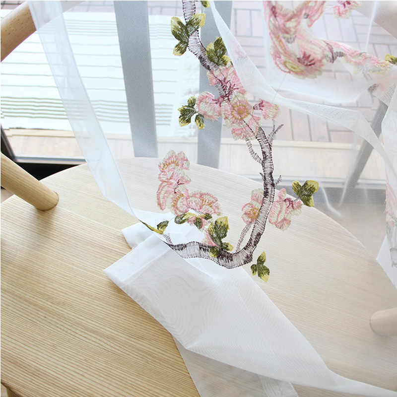 Simple Pastoral Traditional Chinese Embroidery Window Curtains For Living Room White Flowers and Birds Tulle Drapes MY104#40