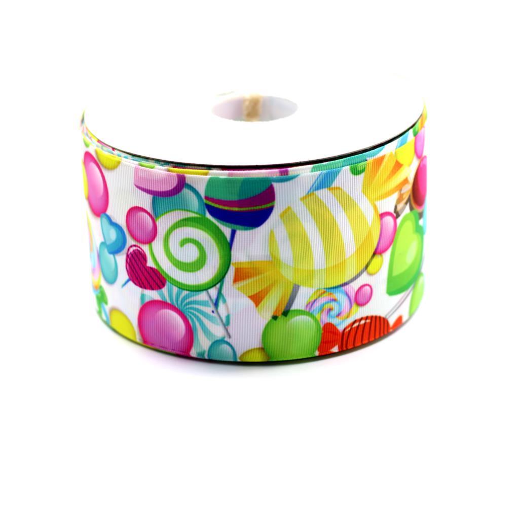 375mm Lollipop Girl Candy Printed Grosgrain Ribbon Gummy Candy Food Sugar Elastic RibbonHandmade Decorative Hair Bows 50 Yards ...