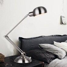 New Led Table Lamp Iron Modern American Foldable Long-Arm Desk Lamp Reading Lamp E27 110V 220V Fashion Office Lamp For Study