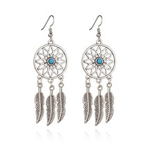 Fashion Bohemia Feather Dreamcatcher Dangle Earrings For Women Jewelry High Quality Wedding Bride Gift dreamcatcher design feather drop earrings