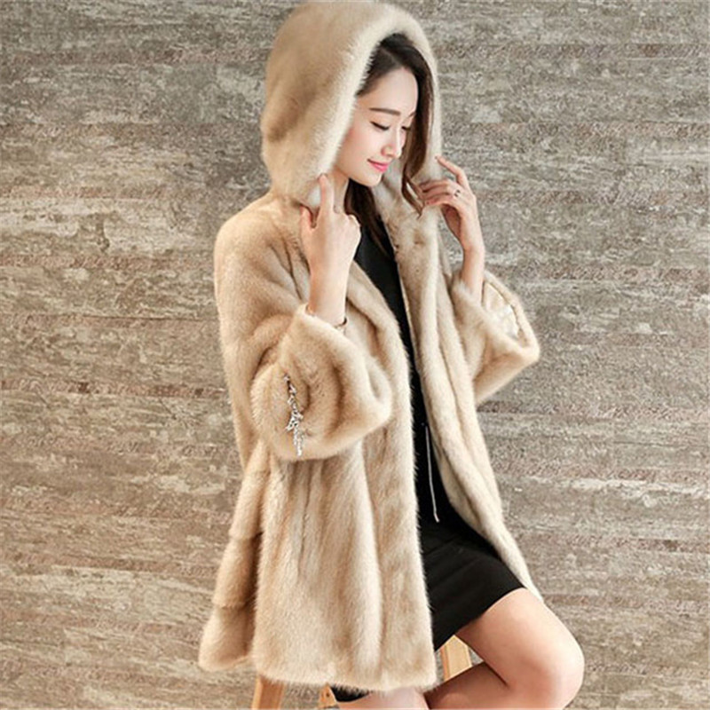 Faux Fur Coat Women Black White Plus Size Loose Raccoon Dog Fur Jackets 2019 New Spring Korean Office Winter Hooded Coats LD777