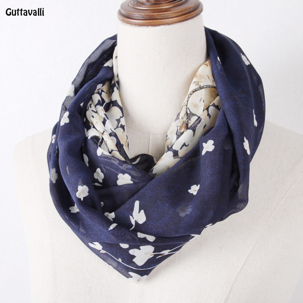 Guttavalli Women Fresh Geometric Ring Shawl Lady Romantic Stripes Small Flowers Loop Scarf Soft Chevron Leopard Infinity Scarves