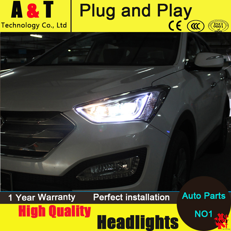 Car Styling Head Lamp IX45 headlight assembly 2013-2014 For Hyundai SANTAFE LED Headlight angel eyes drl H7 with hid kit 2pcs. hireno headlamp for mercedes benz w163 ml320 ml280 ml350 ml430 headlight assembly led drl angel lens double beam hid xenon 2pcs