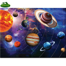 Diamond Embroidery Our Solar System Diamond Painting Planet Cross Stitch Rhinestone Mosaic Decoration YHAll Stickers Murals(China)