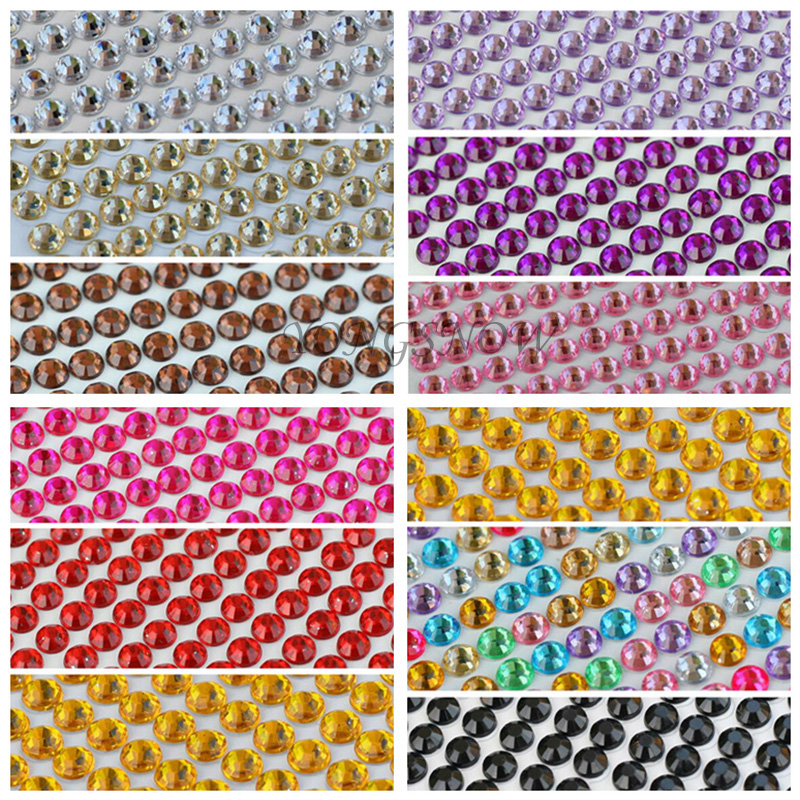 1040Pcs / set 3MM DIY Dekal akrylstenstenar Retail självhäftande Scrapbooking Stickers Fabric Nail Art Telefonväska Dekoration 6Z
