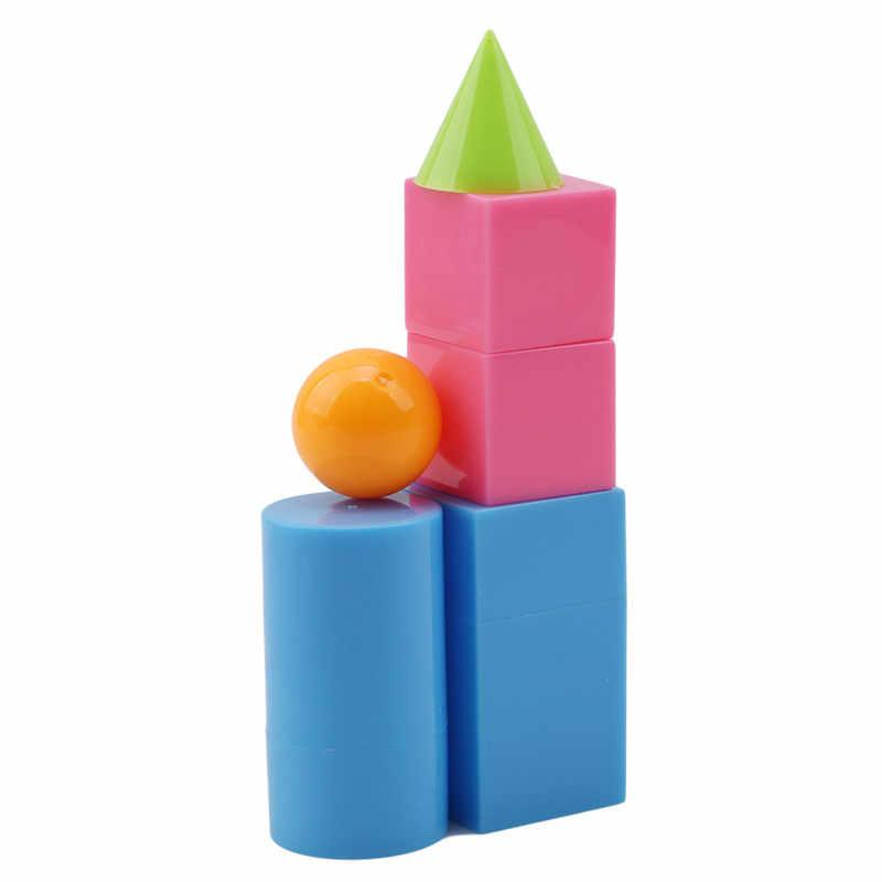 6pcs/set plastic geometric shapes solids montessori toys for children  educational toy materials math baby brinquedos educativo