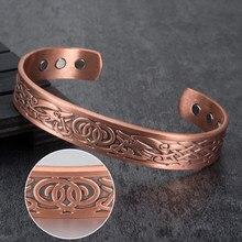 Vinterly-Bracelets Viking pour femmes, Bracelet en énergie, en cuivre pur, magnétique, unisexe, Vintage, manchettes ajustables, hommes