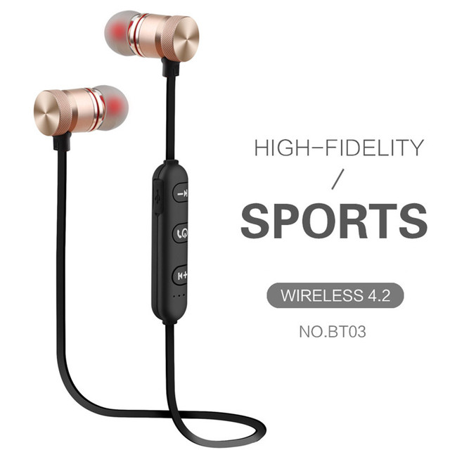 GutsyMan Bluetooth Wireless Headphones Sports Stereo Magnet Earbuds With MIC Earphones Headsets For iPhone Android smart phones