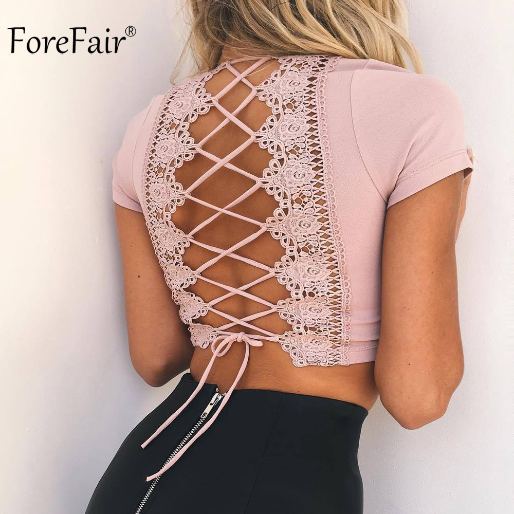ForeFair Sexy Cruz Lace Up t-shirt mujeres verano Rosa Backless cosecha superior más tamaño otoño 2018 manga corta V cuello Tops