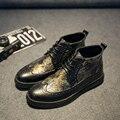 Hombres Brogue Estilo Británico Hombres de La Moda de Arranque Botas de Invierno De Microfibra Decoración Patchwork Diseño Hombres Botas Casual Shoes