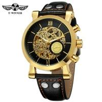 Winner Luxury Brand Golden Case Clouds Hollow Skeleton Watch Genuine Leather Mechanical Watch Men's Self winding Automatic Watch
