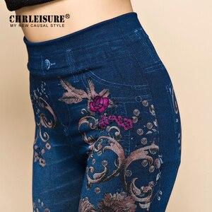 Image 4 - Chrleisure calças de brim femininas leggings outono flores impresso fino algodão mulher jeggings senhoras calças de brim falsas leggings leggings leggency